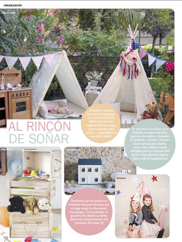 Llega mi Boda. Rincón de Juegos para niños en las Bodas. Publicación en Novias de España