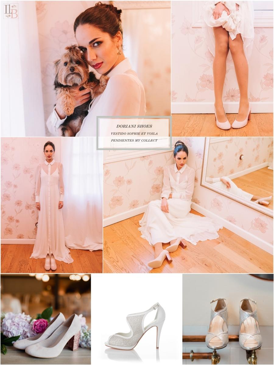 Intemporel, nueva colección Doriani Shoes con vestido de Sophie et Voilà. Post Llega mi Boda